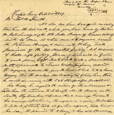 Eyewitness Account of John Brown's Raid on U.S. Arsenal at Harpers Ferry
