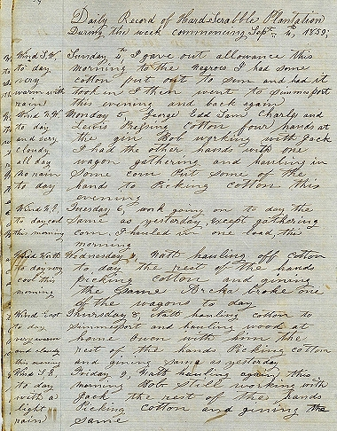 Diary of a Slave Overseer, Hardscrabble Plantation, Louisiana (1859-1861)