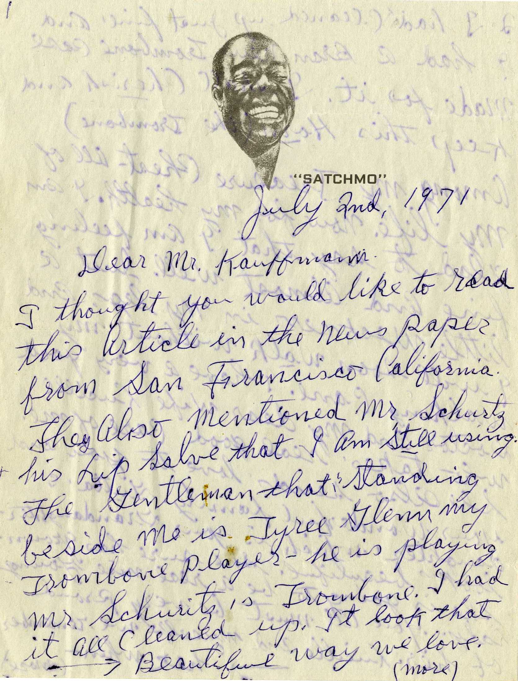 Louis Armstrong – Letter Written a Few Days Before His Passing