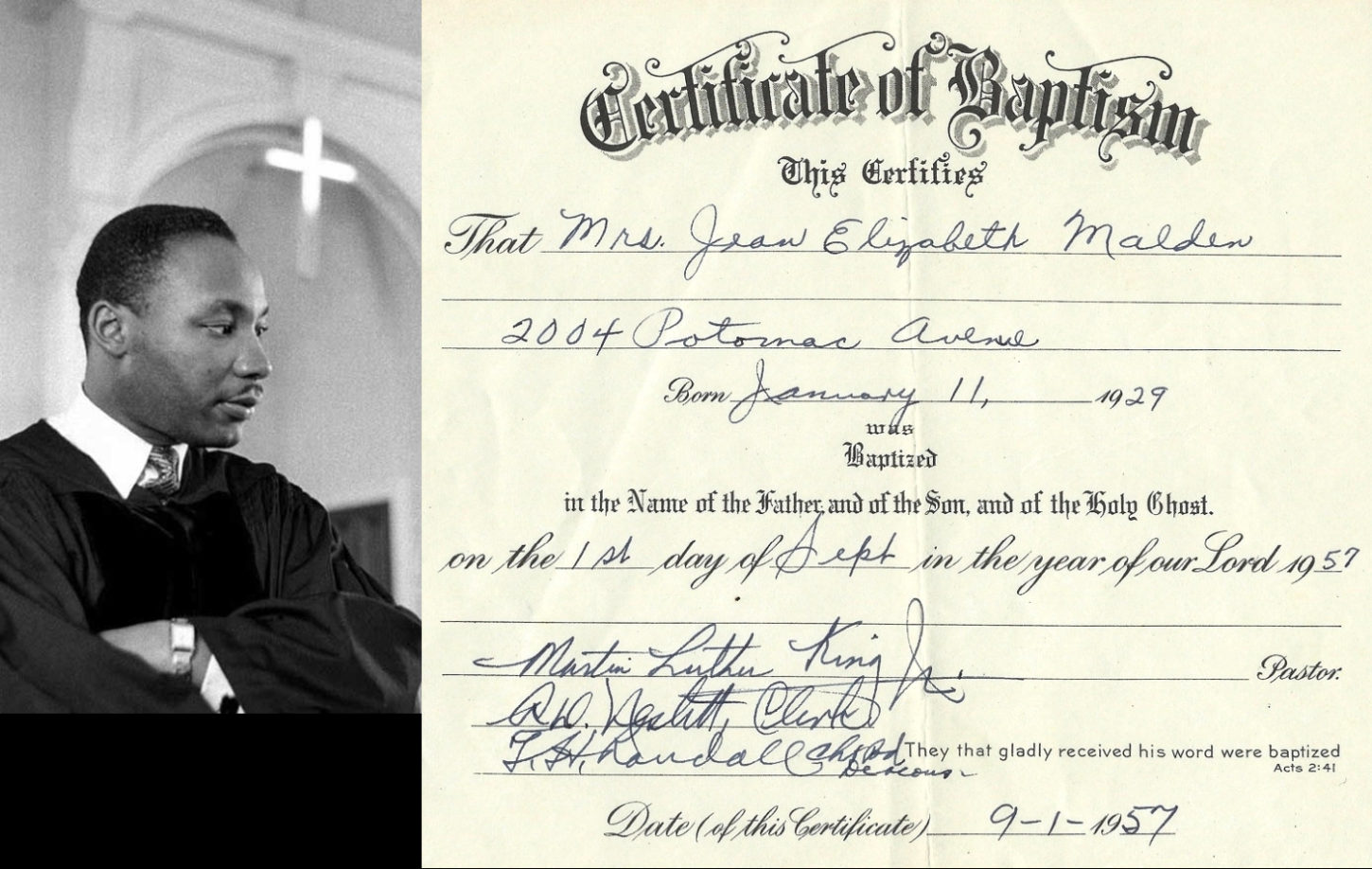 Mlk Baptismal Certificate 1957 The Mitchell Collection Of African