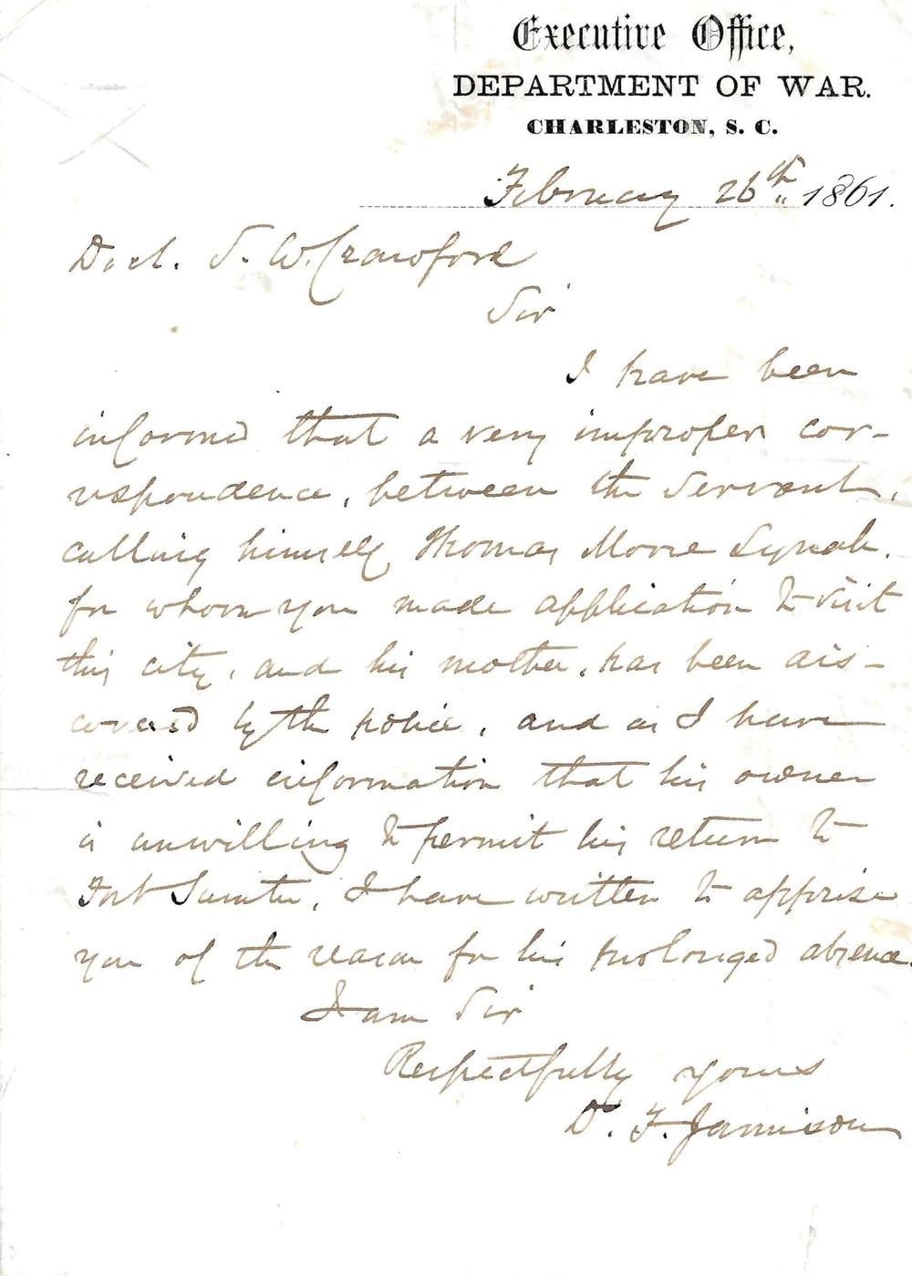 A Slave at Fort Sumter Letter