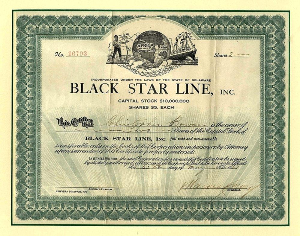 Marcus Garvey Black Star Line Stock Certificate The